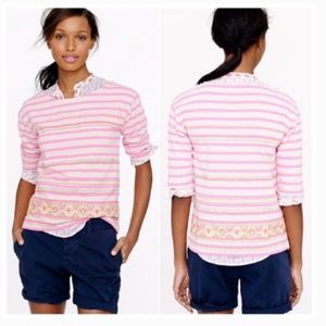 J. Crew Neon Pink Embroidered Striped Top